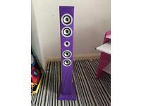 Purple iPod speaker tower