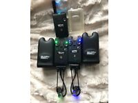 Delkim txi plus bite alarms + receiver and plug in light up duocarb bobbins