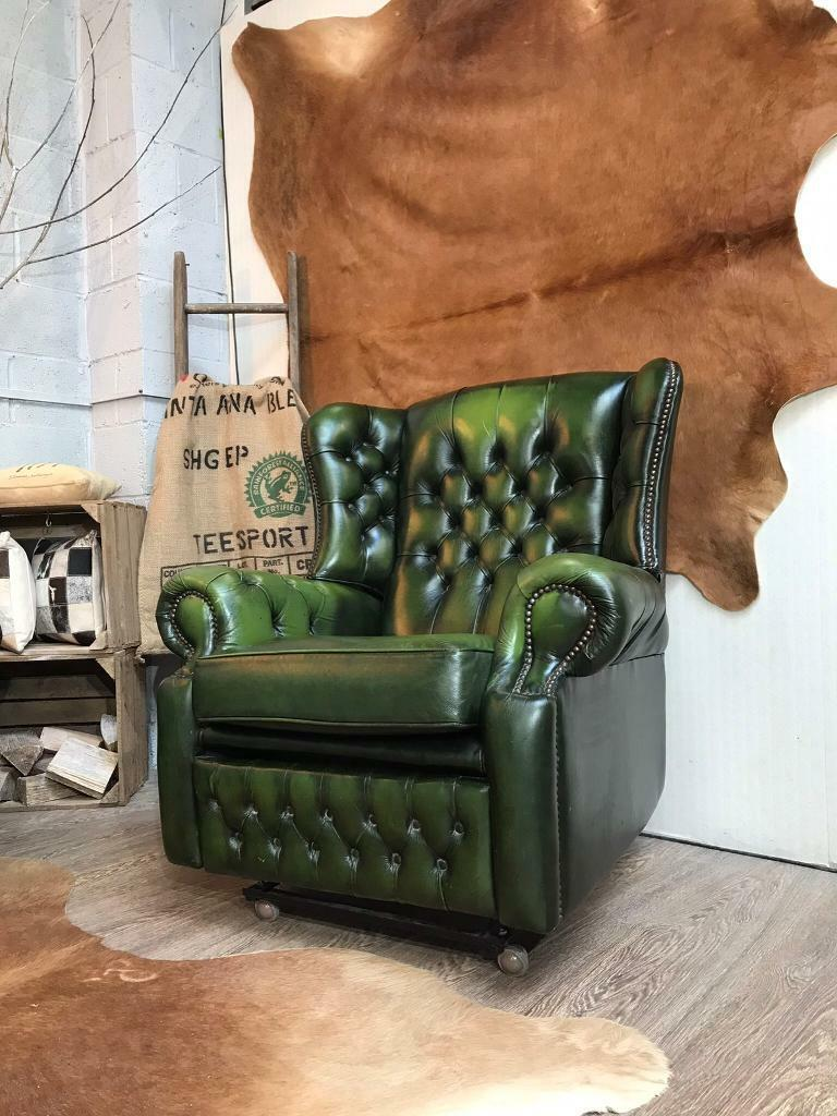 362162c0ebf Chesterfield Vintage Leather Recliner Armchair Green