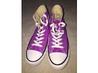 Purple High Top Converse Trainers size 7