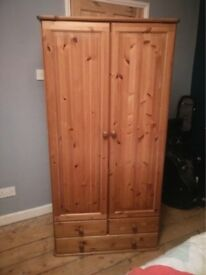 Solid Wood Wardrobe with 3 Drawers