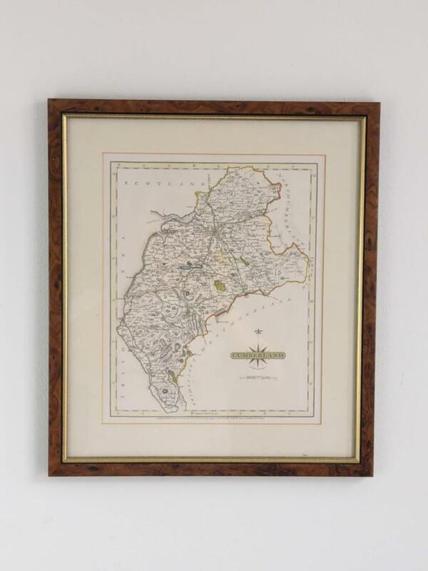 Cumberland map by John Cary Engraver c1787 framed