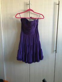 Women's purple Vila bandeau skater style dress