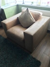Sofitalia Chunky Square Light Tan Leather Armchair. Excellent Condition. Can you Deliver.