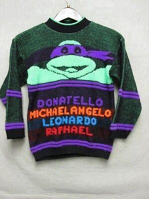 V5945 No Name Ninja Turtles Green/Purple Wool Knit Vintage Sweater Kids 10 ()