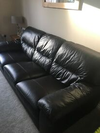 GENUINE leather dark brown 3 seater sofa