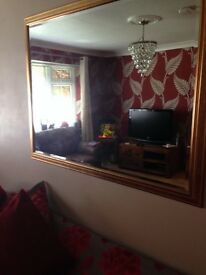Large gold mirror 40inchs depth and width 51 inches immaculate condtion