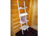 4 shelf ladder rack display unit in grey