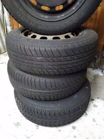 Set of four wheels and tyres,