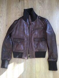 Oasis Brown Leather Ladies Jacket Size 12