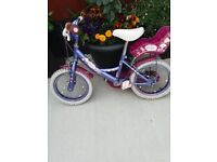 GIRLS BICYCLE IN PURPLE AND PINKS