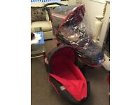 PRAM PUSHCHAIR CARRYCOT- SUITABLE FROM BIRTH - EXCELLENT CONDITION
