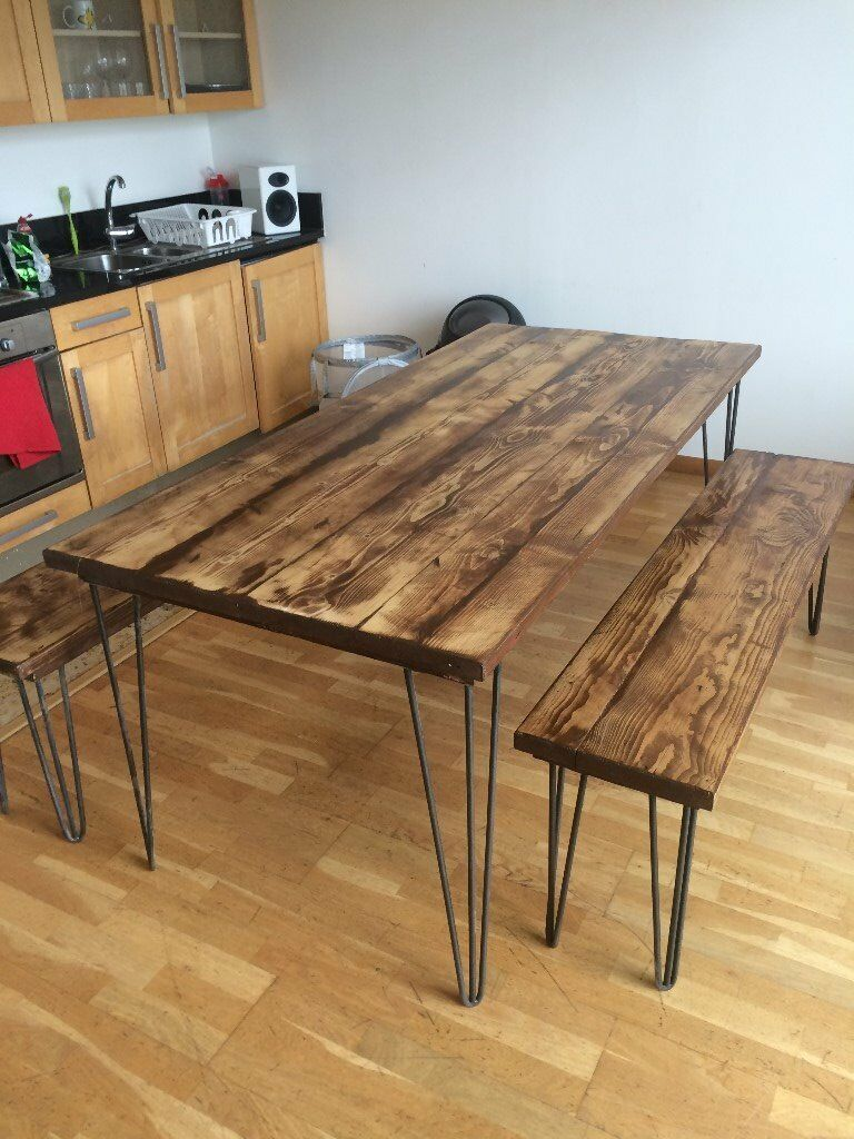recycled scaffold plank board table bench on 12 mm hairpin legs in romford london gumtree. Black Bedroom Furniture Sets. Home Design Ideas