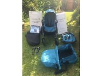 Babyjogger City Select double pushchair, bassinet, footmuff and covers. Teal with black frame.