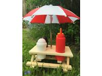 Mini Wooden Picnic Table with Parasol and Condiments
