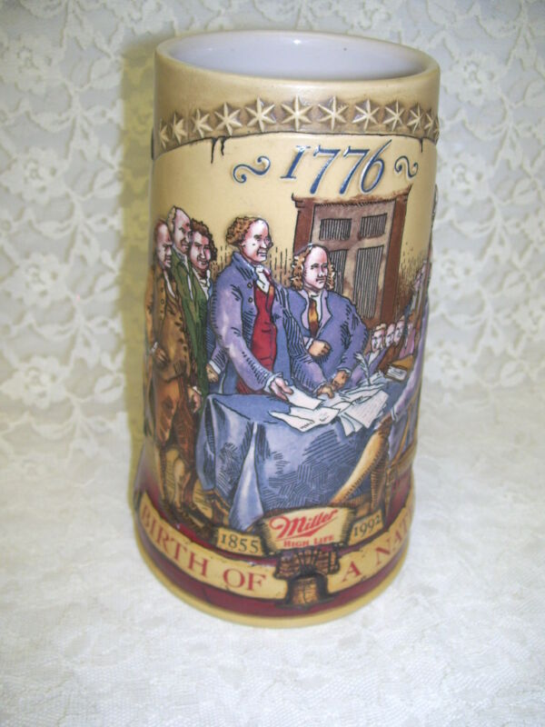 Miller High Life Stein 1776 Patriotic Birth of A Nation Dated 1992