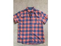 Boys orange and blue Next check shirt in short sleeve *NEW* age 9