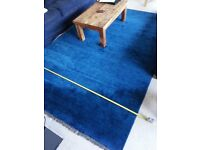 Blue new wool large luxury rug