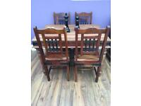 Sheesham solid wood dining table & dining chairs