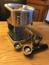 Delonghi Coffee Machine, Stainless Steel, very clean, seldom used.