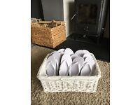 White basket with white flip flops WEDDING