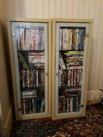 Ikea display unit / cupboard / dvd or cd storage with glass doors