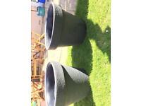 Extra large garden pots grey x 2