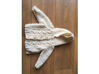 Hand knitted Arran hoodied cardigan / jacket