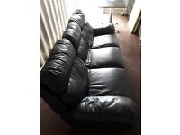 3 seater leather sofa reclining good condition