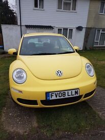 Yellow VW Beetle 2008, low mileage, new MOT, good condition