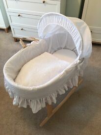 Clair de Lune Broderie Anglaise Moses Basket with Rocking Stand