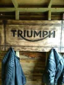 Triumph garage sign / coat hooks