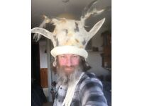hand made felt hat with antlers