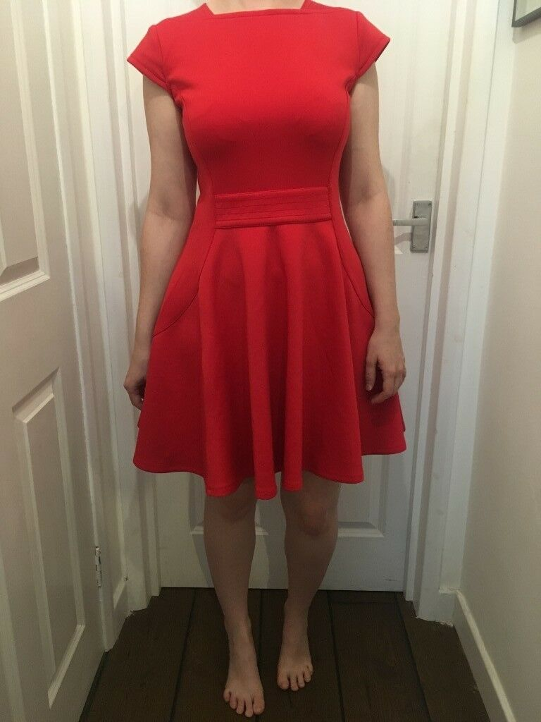33c8399e382cf Ted Baker red neoprene skater dress size 2