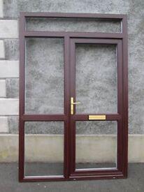 BRAND NEW REHAU PVC Door / fanlight / side screen / 2425 x 1575, woodgrain external, white internal