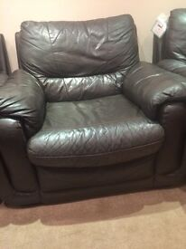 Brown leather sofa & 2 brown leather chairs