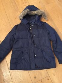 Cyrillic Girl's 3 in 1 navy down jacket 12Y