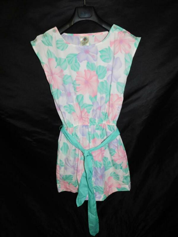Vintage 80s Pacific Reflections M Purple Pink Floral Romper Shorts Playsuit Belt