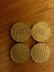 Mint Uncirculated Brass Threepenny bits x 4
