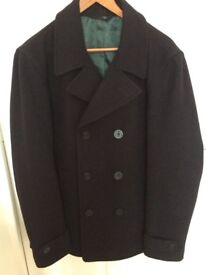 Next Men's navy blue peacoat, excellent condition, hardly worn.
