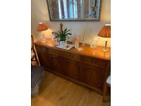 Solid wood extendable dining table with 10 chairs sideboard and corner unit