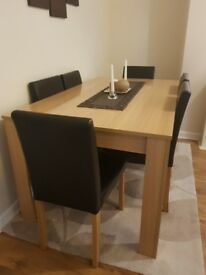 HOME Pemberton Oak Dining Table & 6 Chairs - Choc - Excellent Condition