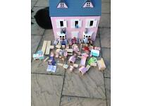 Dolls house with wooden furniture SOLD