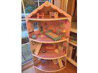 Corner barbie doll house Wooden dolls house