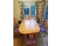Wooden Dining Room Table (Extendable) and Chairs (6) for Sale