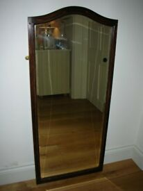 ¾ Length Bevelled Bathroom Mirror in Oak Surround
