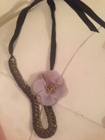 Ribboned Chained Flower Necklace