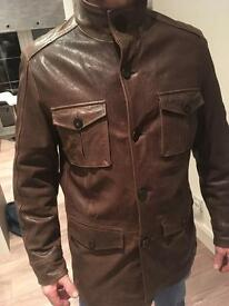 John rocha brown leather jacket - Small
