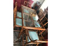 Rattan & Glass Dining Room Table and 6 Chairs