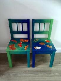 Child chair - wooden- blue/green hand painted - butterfly or fish